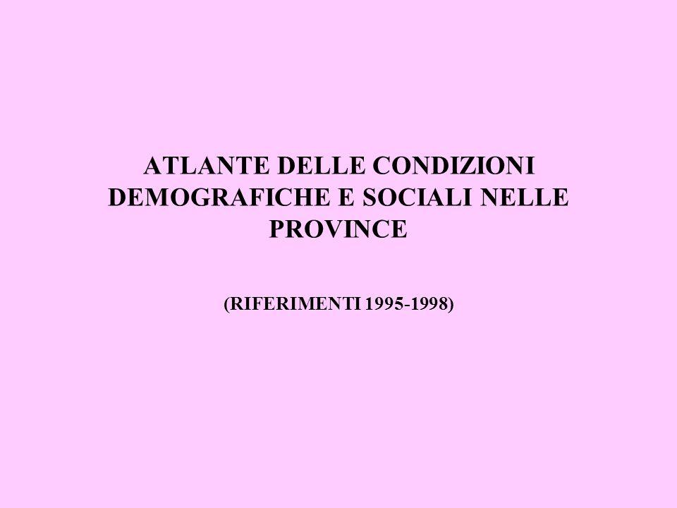 ATLANTE DELLE CONDIZIONI DEMOGRAFICHE E SOCIALI NELLE PROVINCE (RIFERIMENTI 1995-1998)