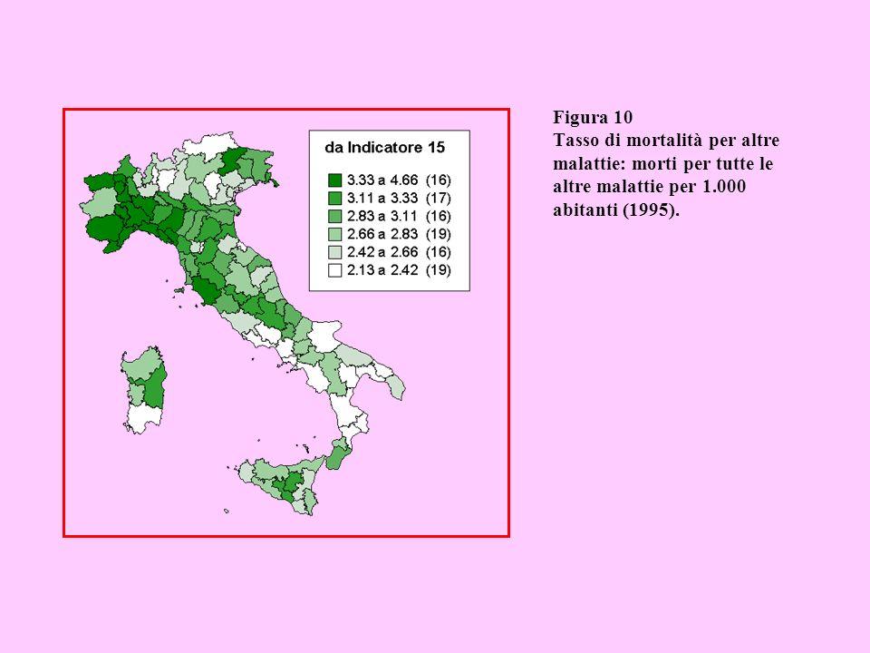 Figura 10 Tasso di mortalità per altre malattie: morti per tutte le altre malattie per 1.000 abitanti (1995).