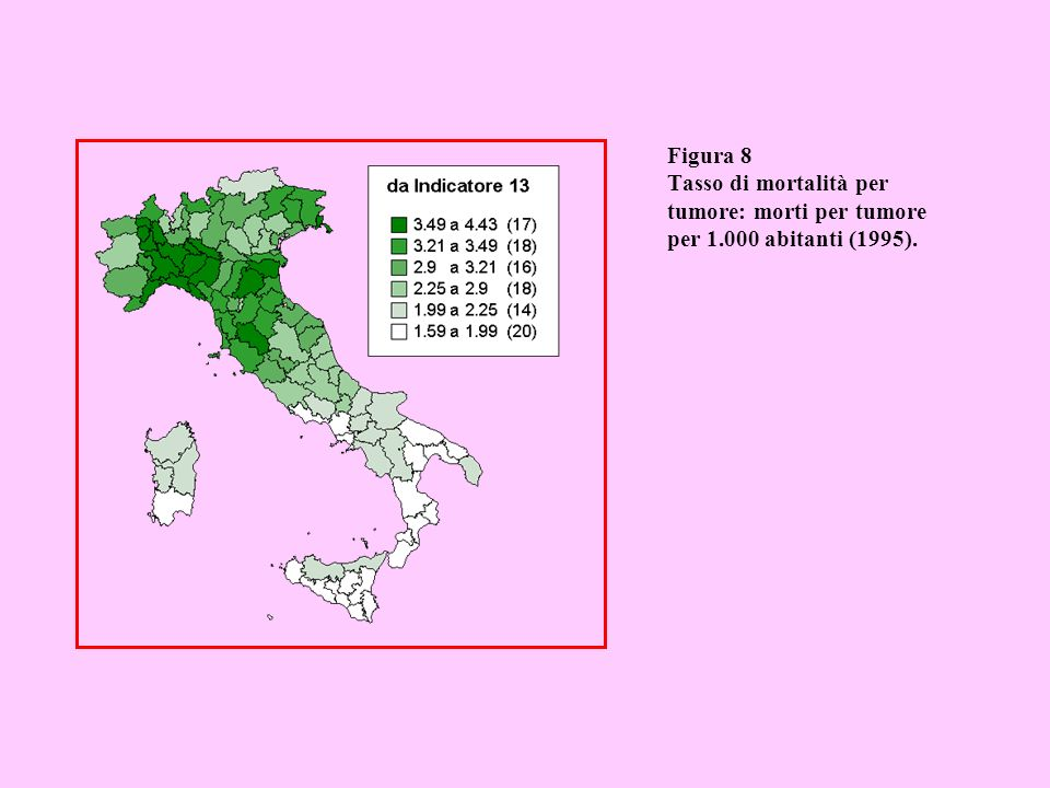 Figura 9 Tasso di mortalità per malattie cardiocircolatorie: morti per malattie cardiocircolatorie per 1.000 abitanti (1995).