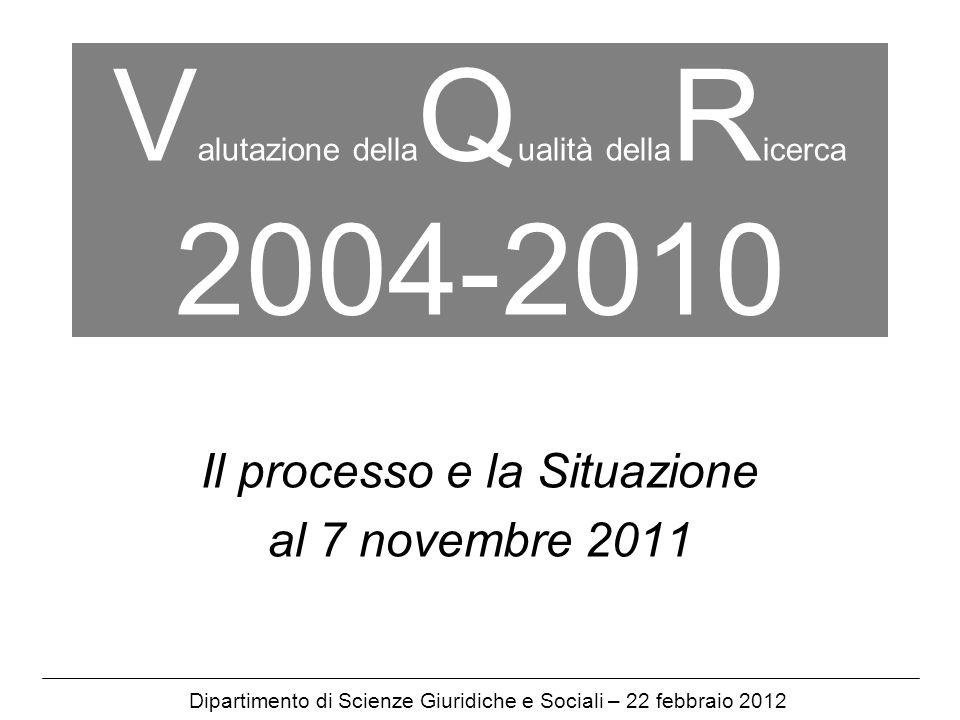 V alutazione della Q ualità della R icerca 2004-2010 Il processo e la Situazione al 7 novembre 2011 Dipartimento di Scienze Giuridiche e Sociali – 22 febbraio 2012