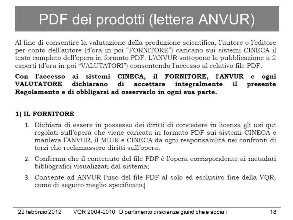 22 febbraio 2012VQR 2004-2010 Dipartimento di scienze giuridiche e sociali18 PDF dei prodotti (lettera ANVUR)