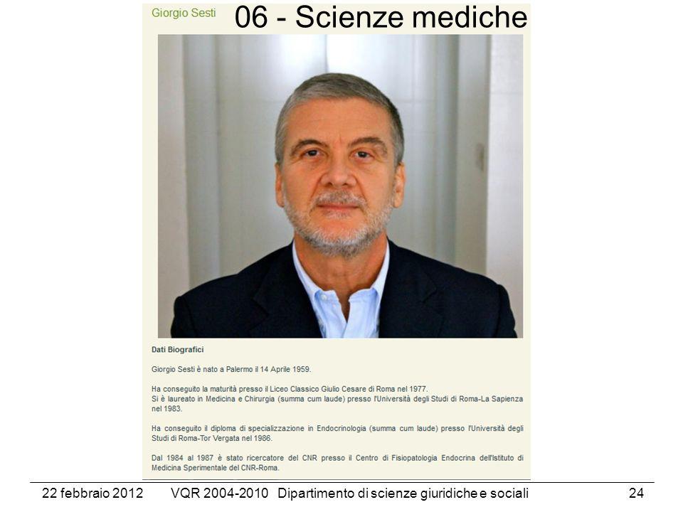 22 febbraio 2012VQR 2004-2010 Dipartimento di scienze giuridiche e sociali24 06 - Scienze mediche