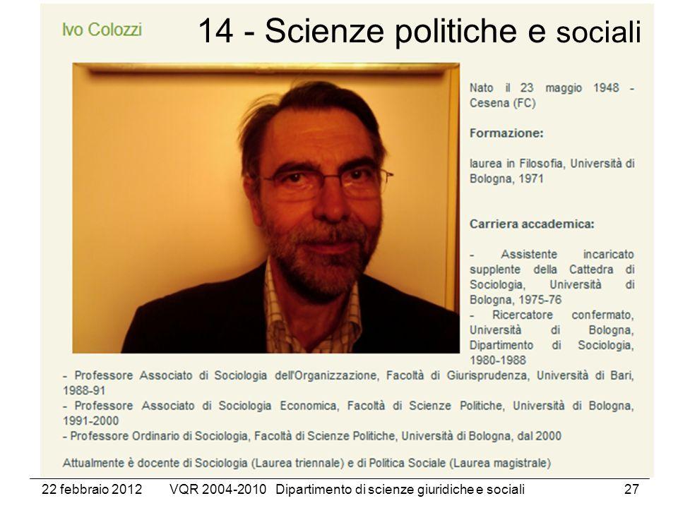 22 febbraio 2012VQR 2004-2010 Dipartimento di scienze giuridiche e sociali27 14 - Scienze politiche e sociali