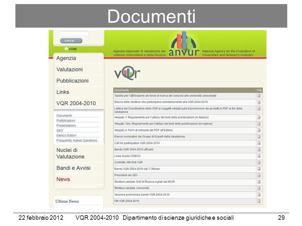 22 febbraio 2012VQR 2004-2010 Dipartimento di scienze giuridiche e sociali29 Documenti