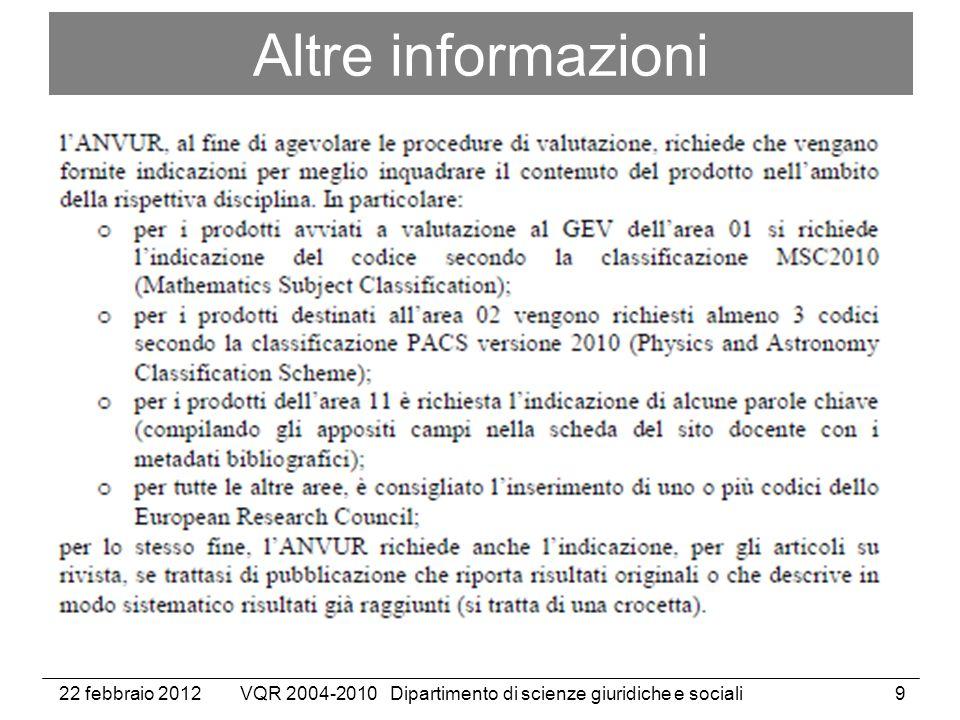 22 febbraio 2012VQR 2004-2010 Dipartimento di scienze giuridiche e sociali9 Altre informazioni