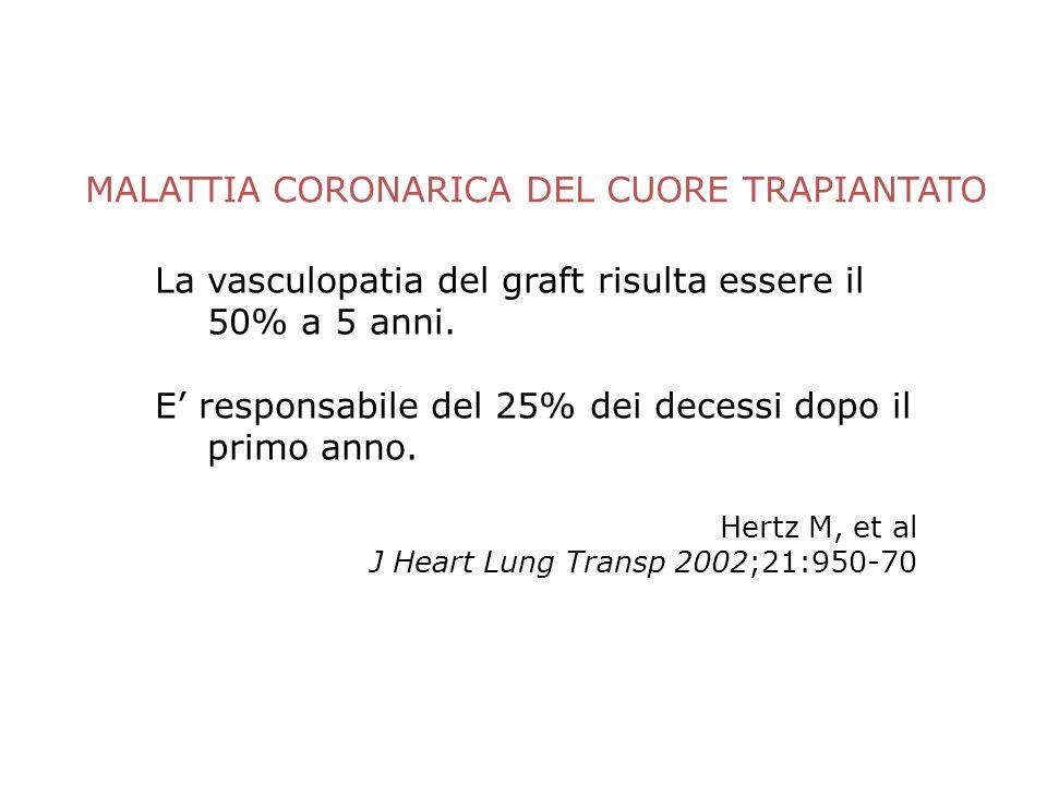 MALATTIA CORONARICA DEL CUORE TRAPIANTATO La vasculopatia del graft risulta essere il 50% a 5 anni. E responsabile del 25% dei decessi dopo il primo a