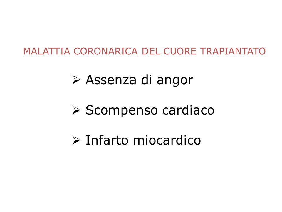 MALATTIA CORONARICA DEL CUORE TRAPIANTATO Assenza di angor Scompenso cardiaco Infarto miocardico Centro di Riferimento Regionale per le Cardiomiopatie