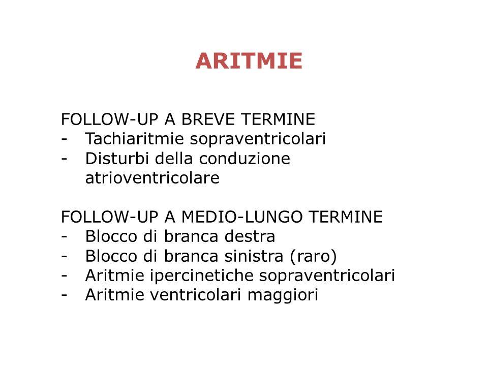 ARITMIE FOLLOW-UP A BREVE TERMINE -Tachiaritmie sopraventricolari -Disturbi della conduzione atrioventricolare FOLLOW-UP A MEDIO-LUNGO TERMINE -Blocco