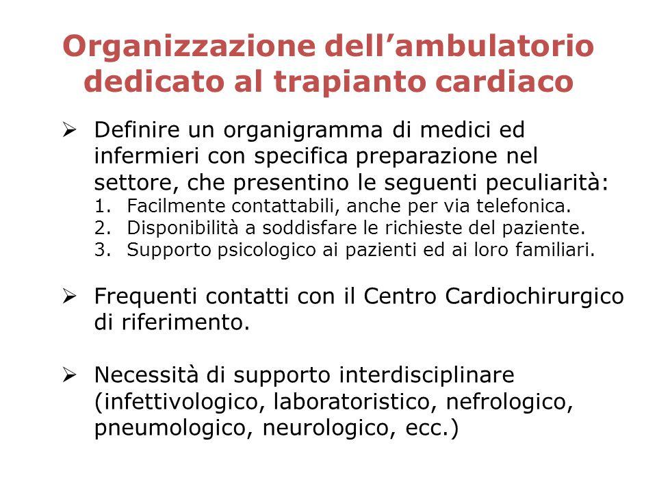 Organizzazione dellambulatorio dedicato al trapianto cardiaco Definire un organigramma di medici ed infermieri con specifica preparazione nel settore,