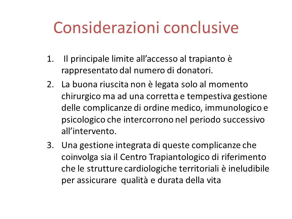Considerazioni conclusive 1. Il principale limite allaccesso al trapianto è rappresentato dal numero di donatori. 2.La buona riuscita non è legata sol