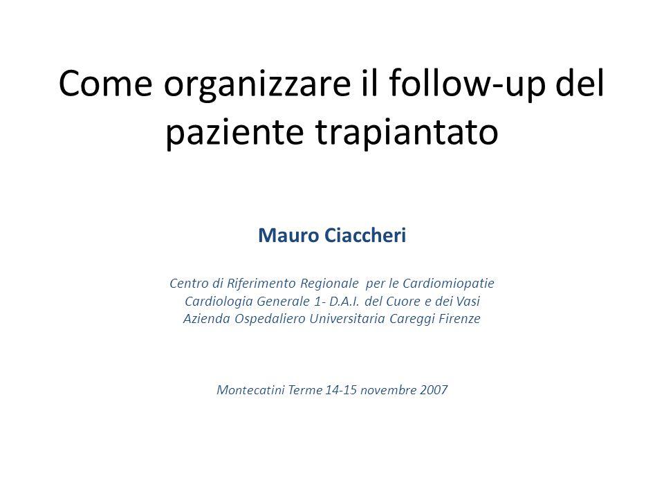 Come organizzare il follow-up del paziente trapiantato Mauro Ciaccheri Centro di Riferimento Regionale per le Cardiomiopatie Cardiologia Generale 1- D