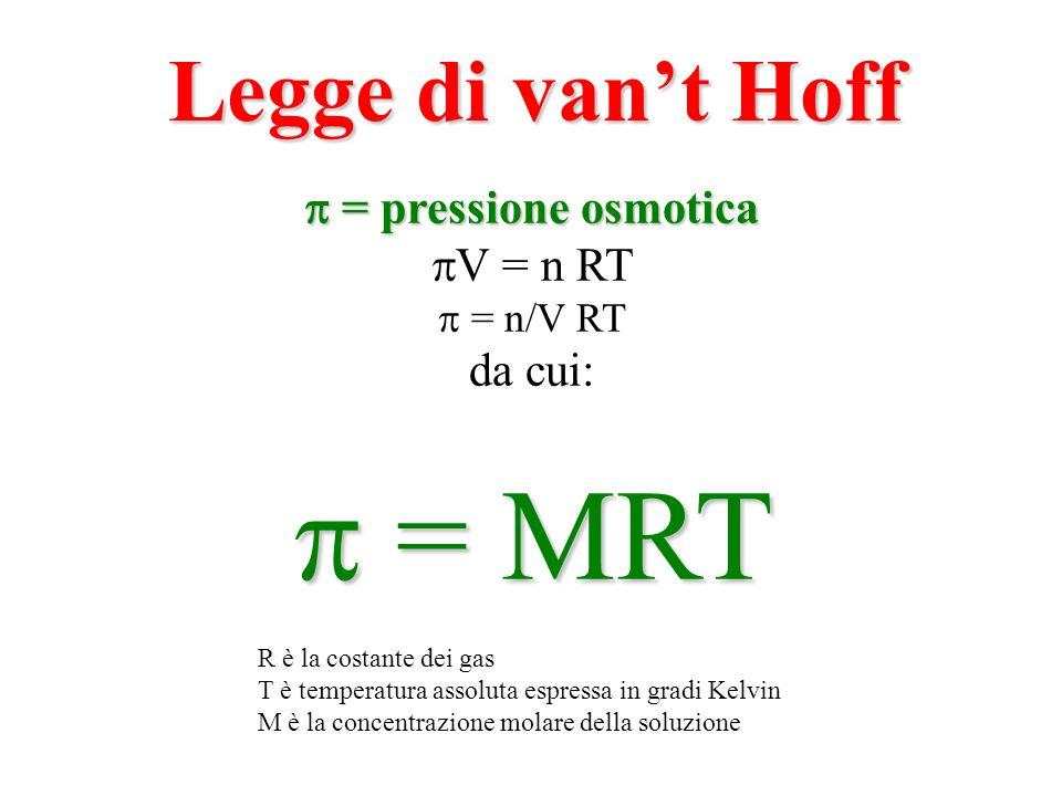 = pressione osmotica = pressione osmotica V = n RT = n/V RT da cui: = MRT = MRT R è la costante dei gas T è temperatura assoluta espressa in gradi Kel