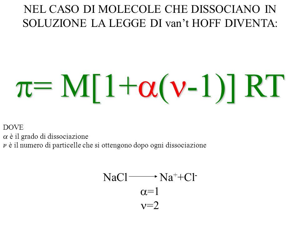 NEL CASO DI MOLECOLE CHE DISSOCIANO IN SOLUZIONE LA LEGGE DI vant HOFF DIVENTA: = M[1+ ( -1)] RT = M[1+ ( -1)] RT DOVE è il grado di dissociazione è i