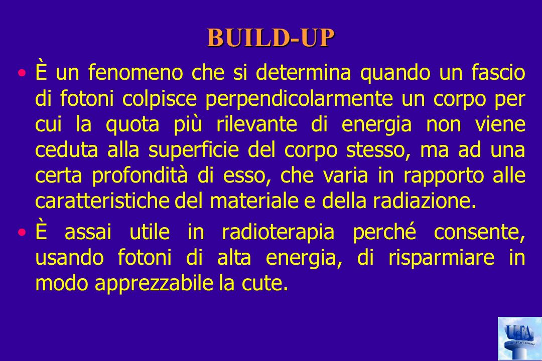 BUILD-UP È un fenomeno che si determina quando un fascio di fotoni colpisce perpendicolarmente un corpo per cui la quota più rilevante di energia non viene ceduta alla superficie del corpo stesso, ma ad una certa profondità di esso, che varia in rapporto alle caratteristiche del materiale e della radiazione.