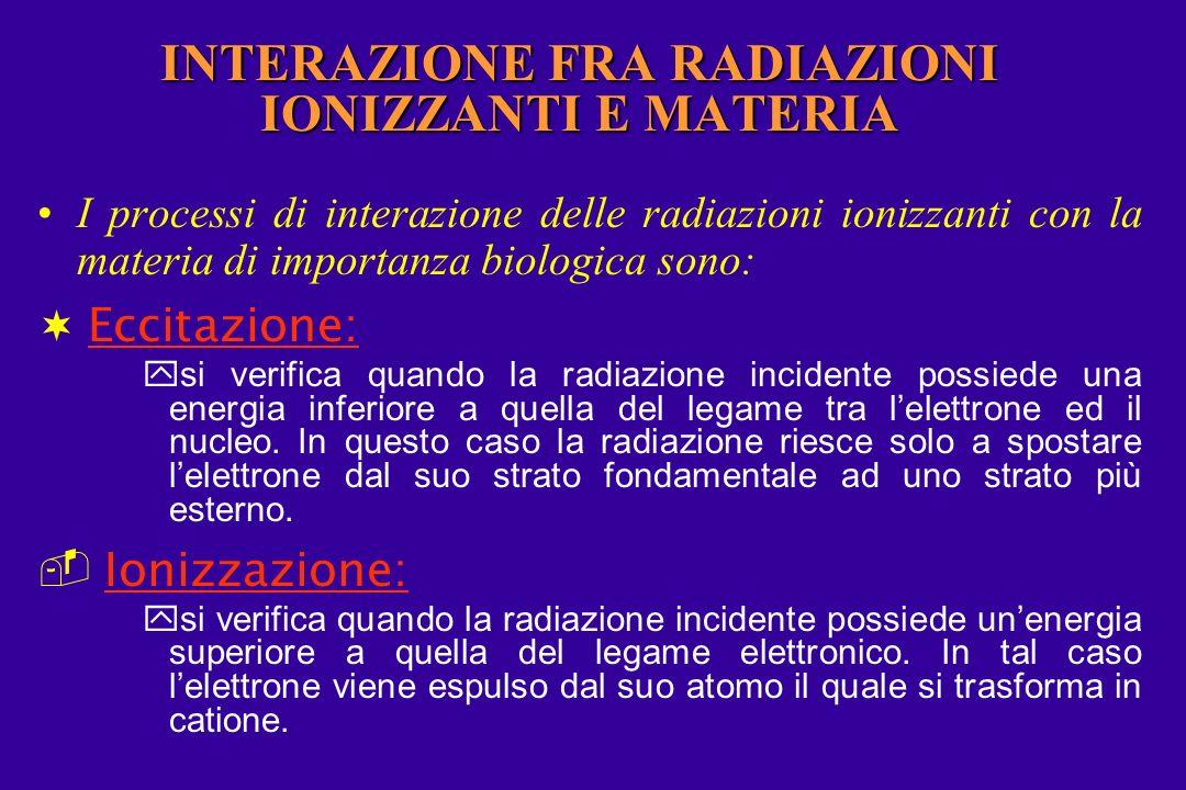 INTERAZIONE FRA RADIAZIONI IONIZZANTI E MATERIA I processi di interazione delle radiazioni ionizzanti con la materia di importanza biologica sono: Eccitazione: ysi verifica quando la radiazione incidente possiede una energia inferiore a quella del legame tra lelettrone ed il nucleo.