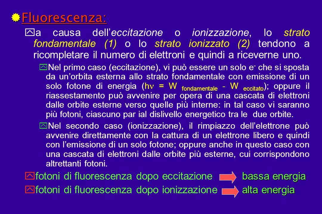 ®Fluorescenza: ya causa delleccitazione o ionizzazione, lo strato fondamentale (1) o lo strato ionizzato (2) tendono a ricompletare il numero di elettroni e quindi a riceverne uno.