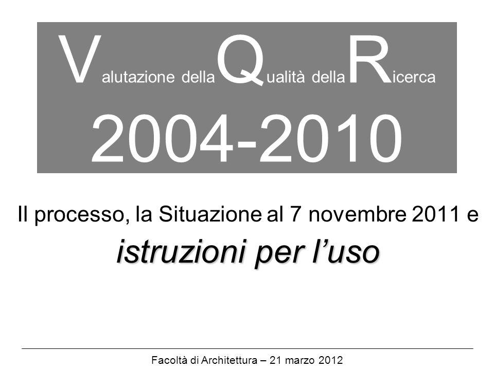 V alutazione della Q ualità della R icerca 2004-2010 Il processo, la Situazione al 7 novembre 2011 e istruzioni per luso Facoltà di Architettura – 21 marzo 2012