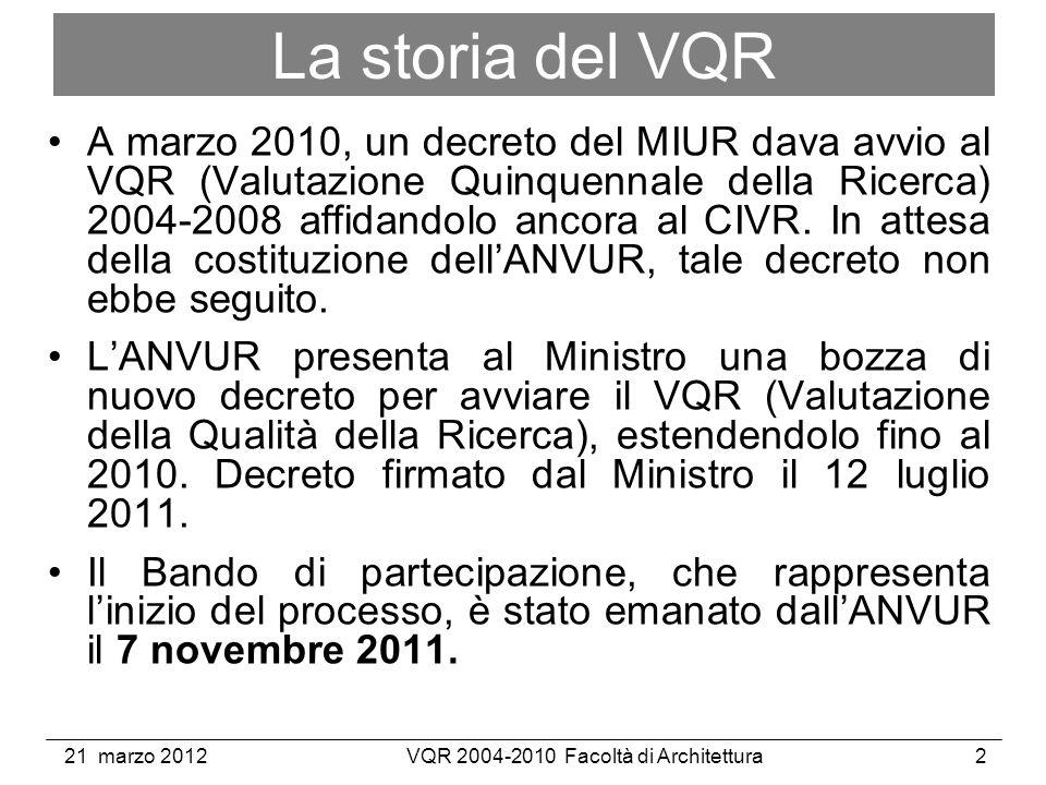 21 marzo 2012VQR 2004-2010 Facoltà di Architettura2 La storia del VQR A marzo 2010, un decreto del MIUR dava avvio al VQR (Valutazione Quinquennale della Ricerca) 2004-2008 affidandolo ancora al CIVR.