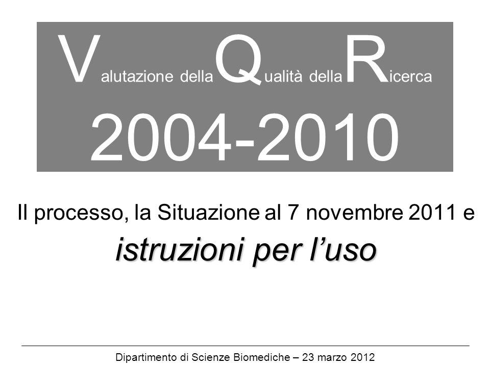 V alutazione della Q ualità della R icerca 2004-2010 Il processo, la Situazione al 7 novembre 2011 e istruzioni per luso Dipartimento di Scienze Biomediche – 23 marzo 2012
