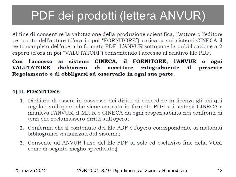 23 marzo 2012VQR 2004-2010 Dipartimento di Scienze Biomediche18 PDF dei prodotti (lettera ANVUR)