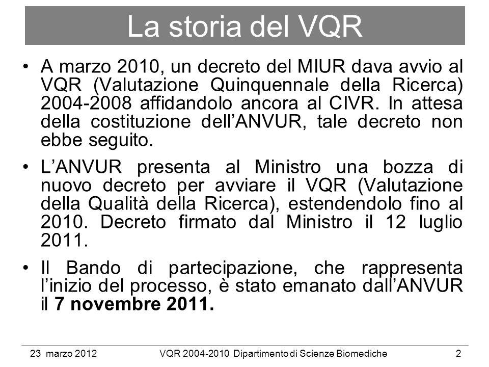 23 marzo 2012VQR 2004-2010 Dipartimento di Scienze Biomediche2 La storia del VQR A marzo 2010, un decreto del MIUR dava avvio al VQR (Valutazione Quinquennale della Ricerca) 2004-2008 affidandolo ancora al CIVR.