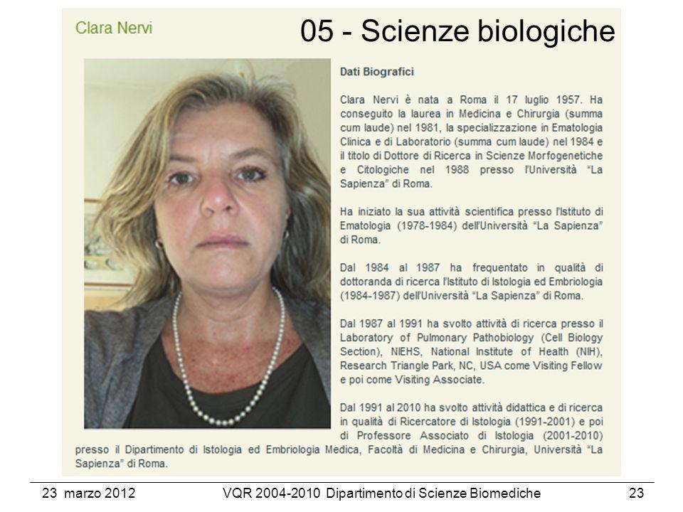 23 marzo 2012VQR 2004-2010 Dipartimento di Scienze Biomediche23 05 - Scienze biologiche