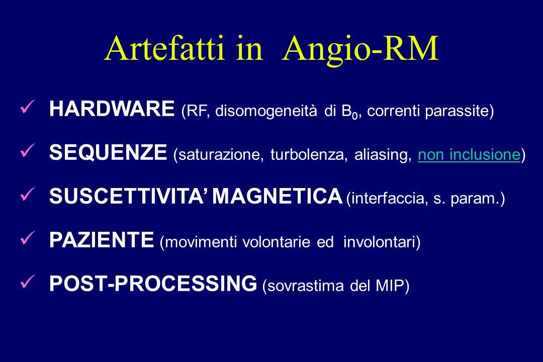 HARDWARE (RF, disomogeneità di B 0, correnti parassite) SEQUENZE (saturazione, turbolenza, aliasing, non inclusione) SUSCETTIVITA MAGNETICA (interfacc