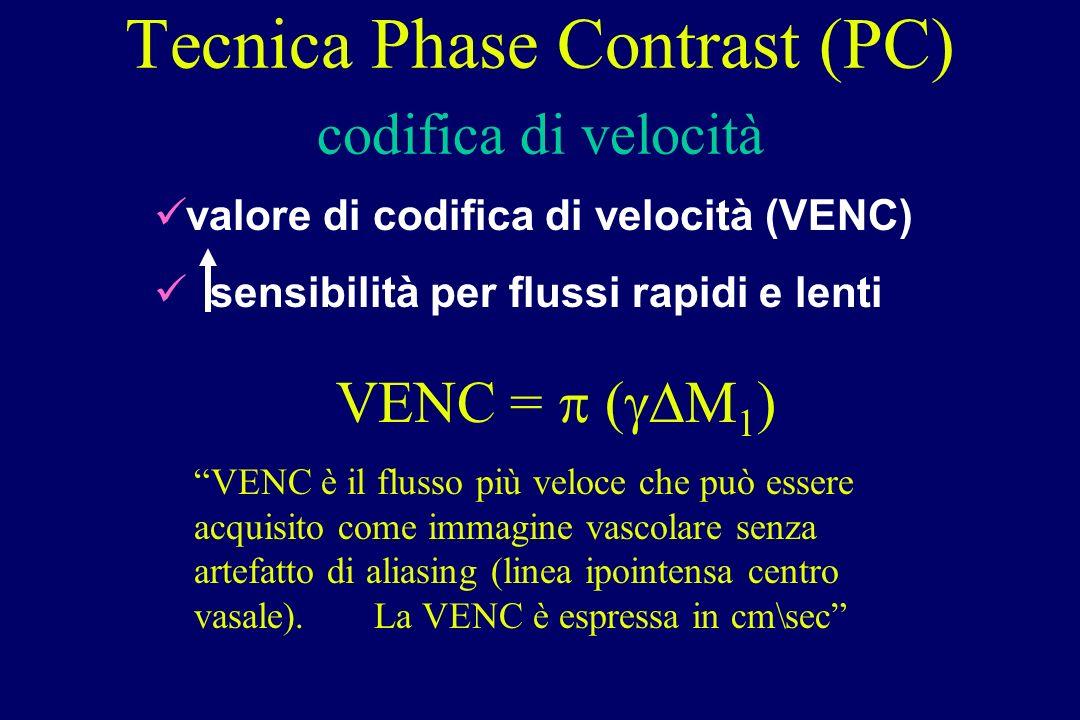 Tecnica Phase Contrast (PC) codifica di velocità valore di codifica di velocità (VENC) sensibilità per flussi rapidi e lenti VENC = ( M 1 ) VENC è il