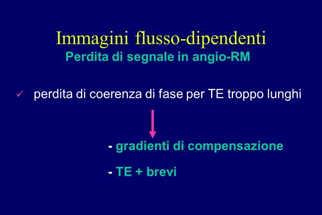 perdita di coerenza di fase per TE troppo lunghi - gradienti di compensazione - TE + brevi Immagini flusso-dipendenti Perdita di segnale in angio-RM