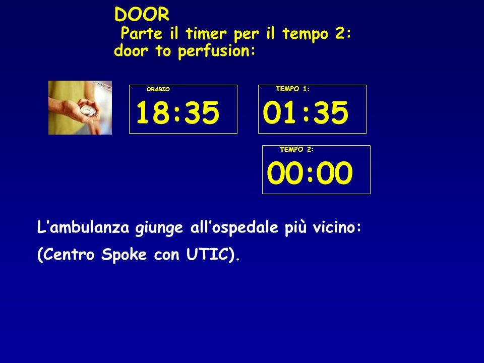 DOOR Parte il timer per il tempo 2: door to perfusion: Lambulanza giunge allospedale più vicino: (Centro Spoke con UTIC).