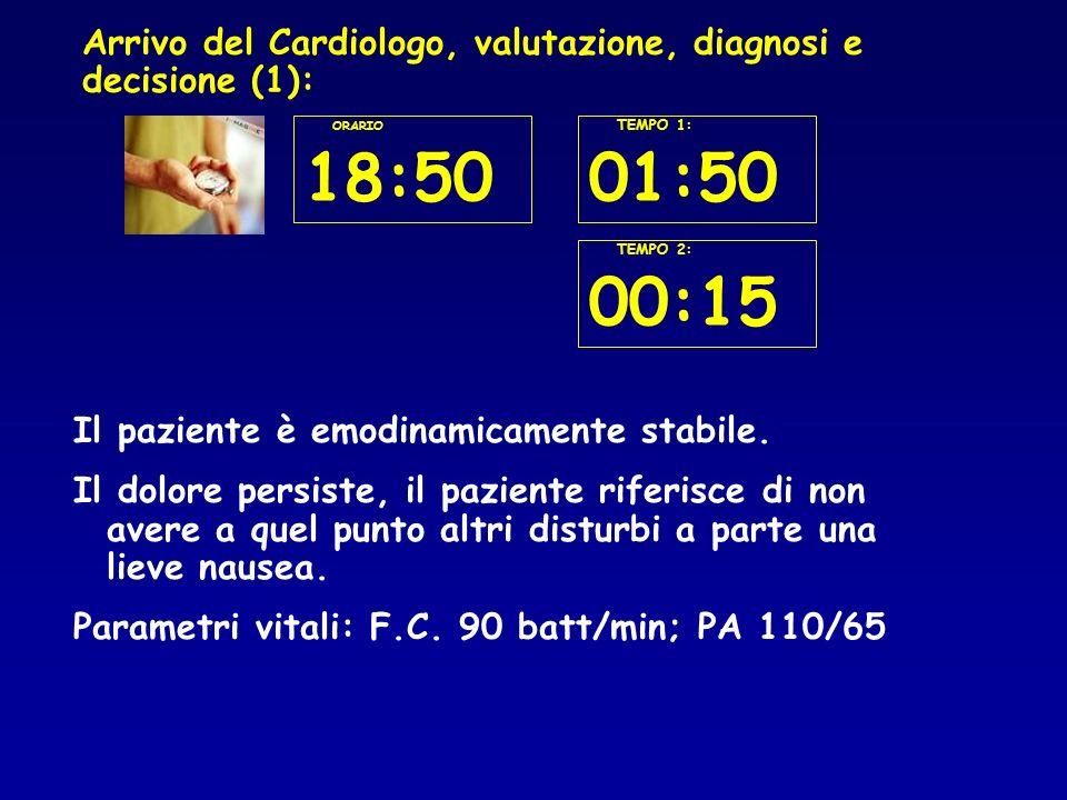 Arrivo del Cardiologo, valutazione, diagnosi e decisione (1): Il paziente è emodinamicamente stabile.