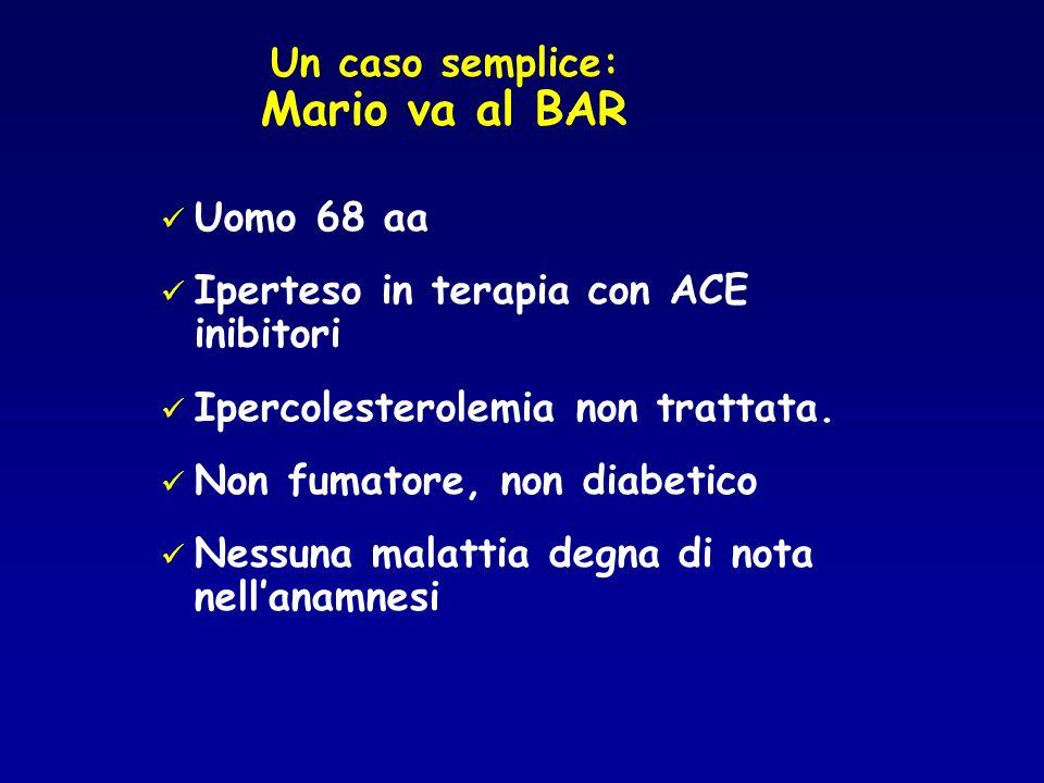Un caso semplice: Mario va al BAR Uomo 68 aa Iperteso in terapia con ACE inibitori Ipercolesterolemia non trattata.