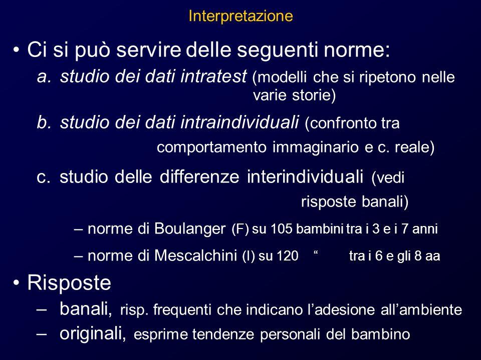 Interpretazione Ci si può servire delle seguenti norme: a.studio dei dati intratest (modelli che si ripetono nelle varie storie) b.studio dei dati intraindividuali (confronto tra comportamento immaginario e c.