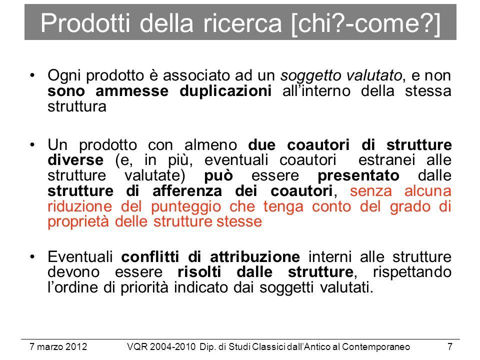 7 marzo 2012VQR 2004-2010 Dip. di Studi Classici dallAntico al Contemporaneo28 Documenti
