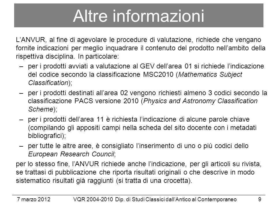 7 marzo 2012VQR 2004-2010 Dip. di Studi Classici dallAntico al Contemporaneo30 http://www.unich.it/