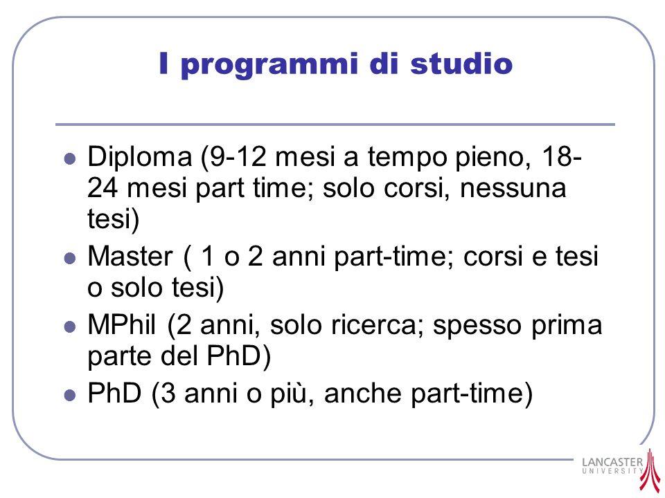 I programmi di studio Diploma (9-12 mesi a tempo pieno, 18- 24 mesi part time; solo corsi, nessuna tesi) Master ( 1 o 2 anni part-time; corsi e tesi o