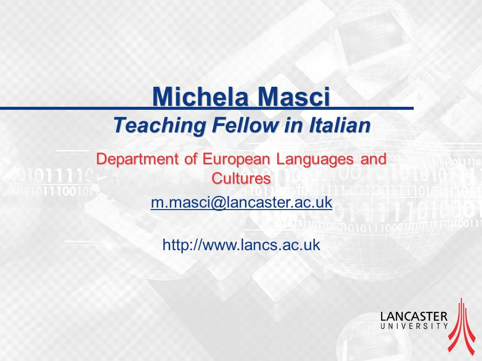 Michela Masci Teaching Fellow in Italian Department of European Languages and Cultures