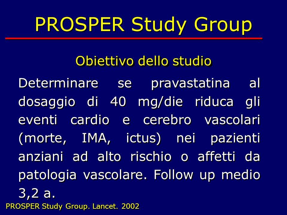 20 PROSPER Study Group Obiettivo dello studio PROSPER Study Group Obiettivo dello studio Determinare se pravastatina al dosaggio di 40 mg/die riduca g