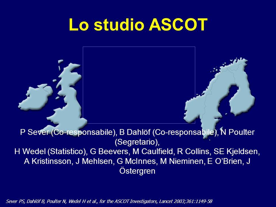 24 Lo studio ASCOT Sever PS, Dahlöf B, Poulter N, Wedel H et al., for the ASCOT Investigators, Lancet 2003;361:1149-58 P Sever (Co-responsabile), B Da