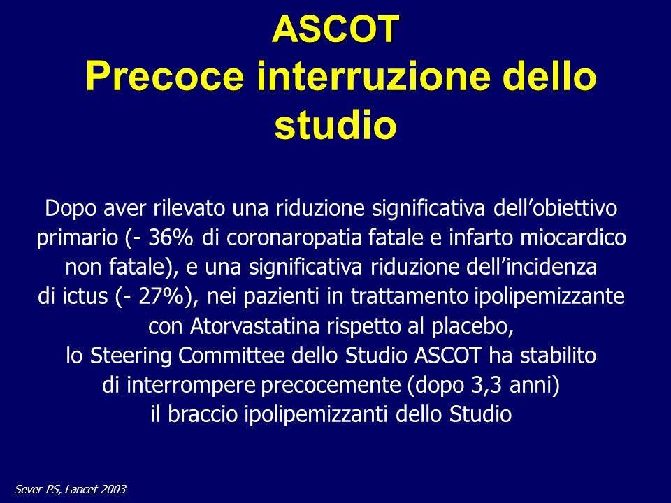 31 ASCOT ASCOT Precoce interruzione dello studio Dopo aver rilevato una riduzione significativa dellobiettivo primario (- 36% di coronaropatia fatale