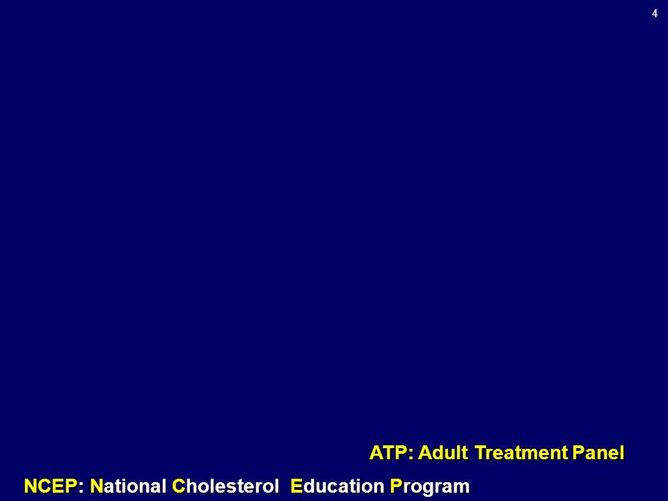 4 NCEP: National Cholesterol Education Program ATP: Adult Treatment Panel