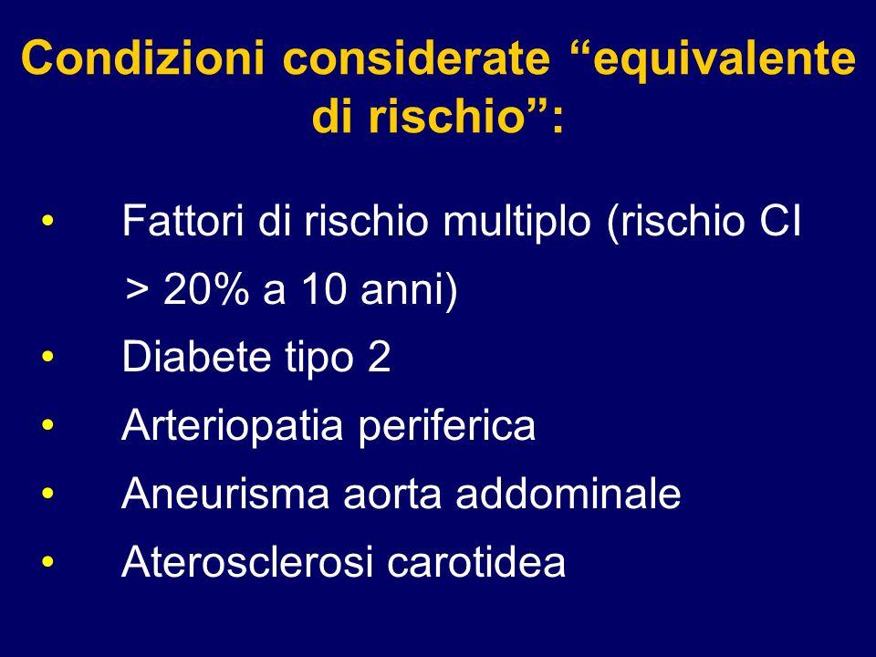 48 Condizioni considerate equivalente di rischio: Fattori di rischio multiplo (rischio CI > 20% a 10 anni) Diabete tipo 2 Arteriopatia periferica Aneu