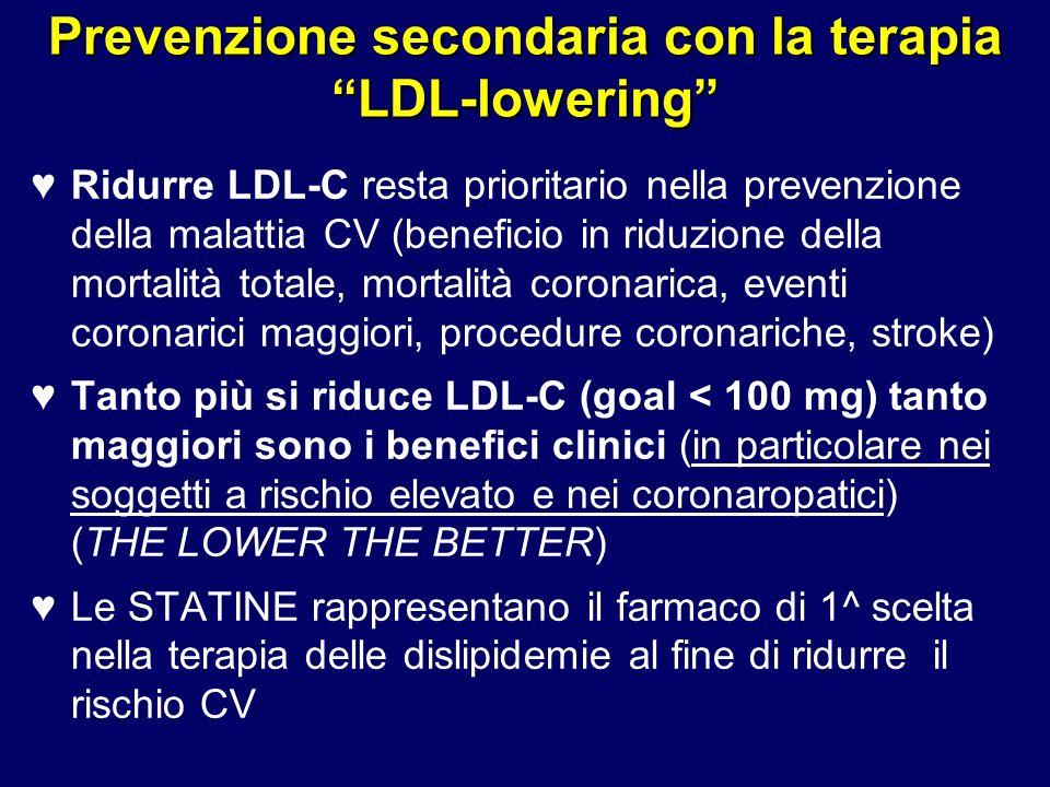 50 Prevenzione secondaria con la terapia LDL-lowering Ridurre LDL-C resta prioritario nella prevenzione della malattia CV (beneficio in riduzione dell
