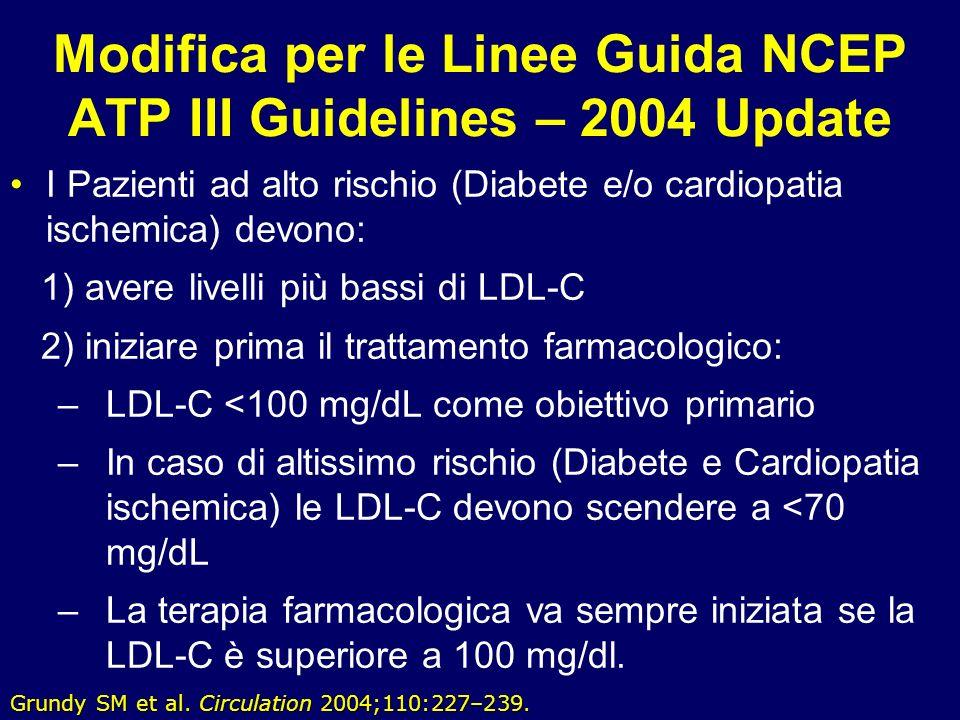 51 Modifica per le Linee Guida NCEP ATP III Guidelines – 2004 Update I Pazienti ad alto rischio (Diabete e/o cardiopatia ischemica) devono: 1) avere l