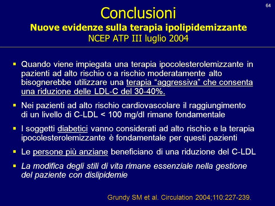 64 Conclusioni NCEP ATP III luglio 2004 Conclusioni Nuove evidenze sulla terapia ipolipidemizzante NCEP ATP III luglio 2004 Quando viene impiegata una