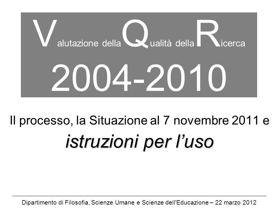 V alutazione della Q ualità della R icerca 2004-2010 Il processo, la Situazione al 7 novembre 2011 e istruzioni per luso Dipartimento di Filosofia, Scienze Umane e Scienze dell Educazione – 22 marzo 2012