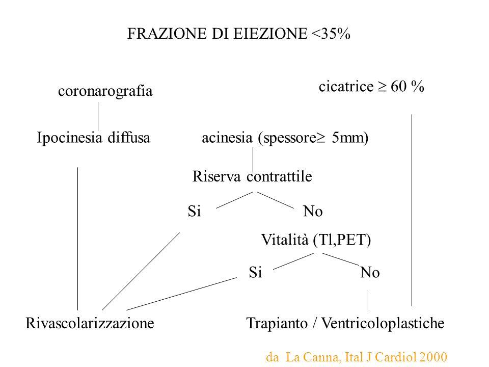 FRAZIONE DI EIEZIONE <35% coronarografia cicatrice 60 % Ipocinesia diffusa acinesia (spessore 5mm) Riserva contrattile Si No Vitalità (Tl,PET) Si No R