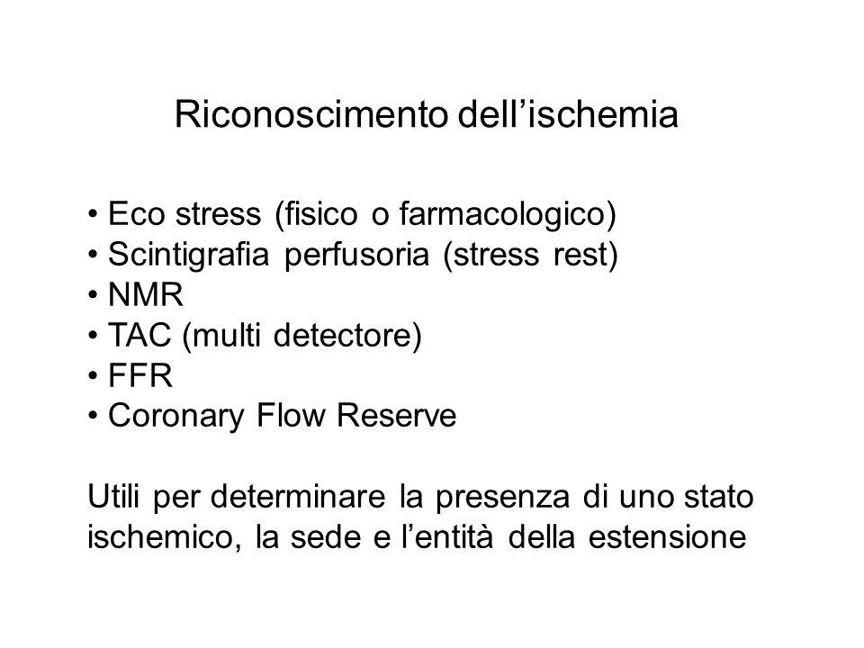 Riconoscimento dellischemia Eco stress (fisico o farmacologico) Scintigrafia perfusoria (stress rest) NMR TAC (multi detectore) FFR Coronary Flow Rese