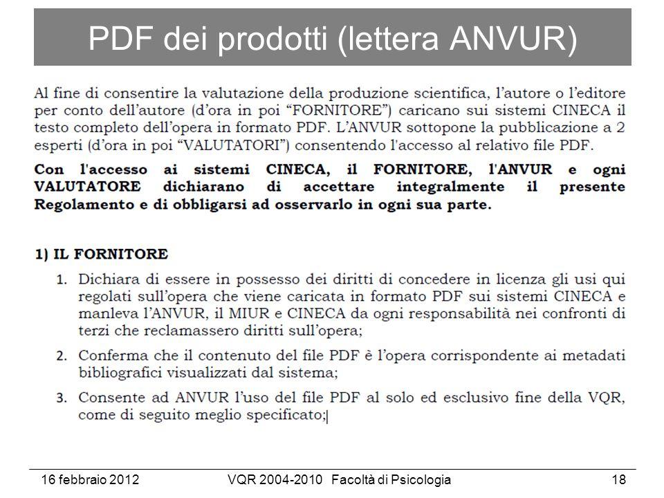 16 febbraio 2012VQR 2004-2010 Facoltà di Psicologia18 PDF dei prodotti (lettera ANVUR)