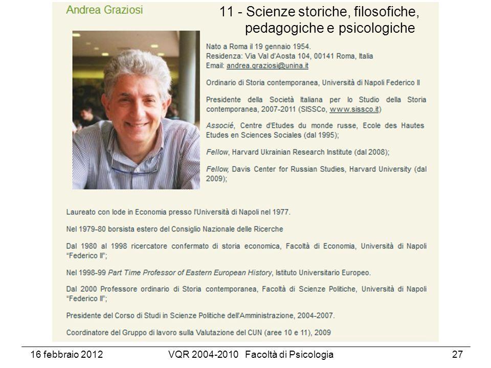 16 febbraio 2012VQR 2004-2010 Facoltà di Psicologia27 11 - Scienze storiche, filosofiche, pedagogiche e psicologiche